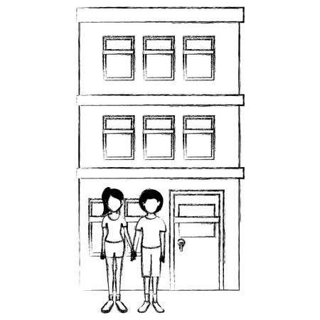 couple lovers outside the house vector illustration design Stock Vector - 103022938