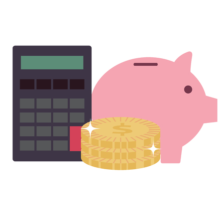 piggy savings with coins and calculator vector illustration design  イラスト・ベクター素材