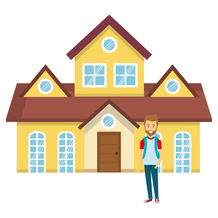 student young man outside the house vector illustration design Illustration