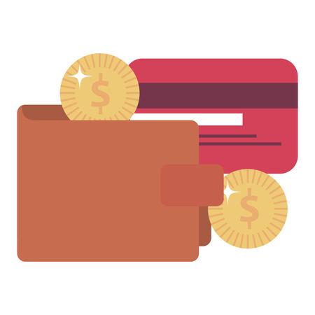 Billetera de dinero con tarjeta de crédito y monedas ilustración vectorial de diseño Foto de archivo - 103022943