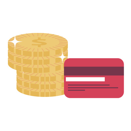 credit card with coins vector illustration design