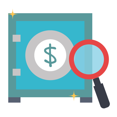 safe box money with magnifying glass vector illustration design Stock Vector - 103022955