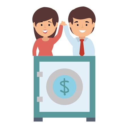 business couple safe box money vector illustration design