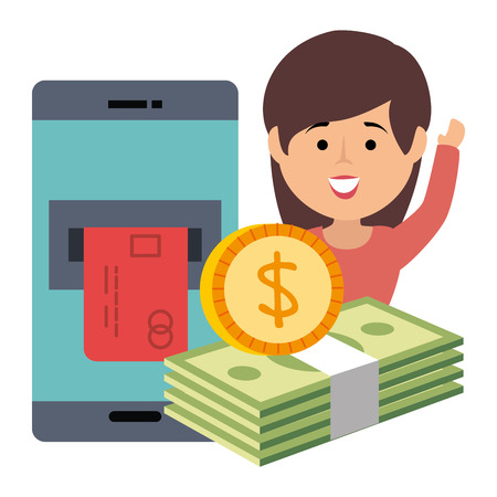 smartphone with credit card and bills dollars vector illustration design