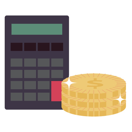 calculator math device with coins vector illustration design