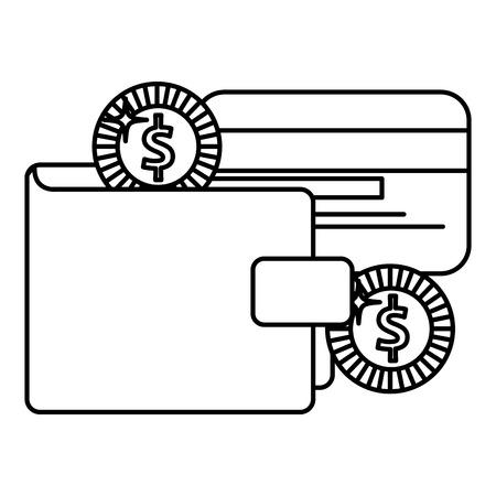 Billetera de dinero con tarjeta de crédito y monedas ilustración vectorial de diseño Foto de archivo - 103023419