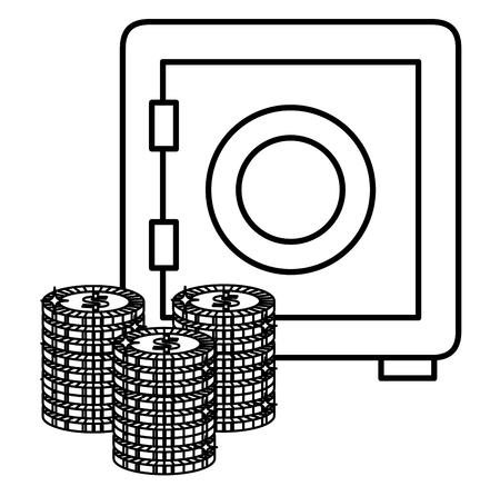 safe box money save icon vector illustration design  イラスト・ベクター素材