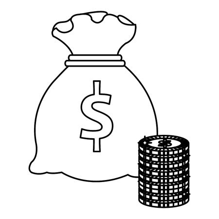 money bag with coins vector illustration design
