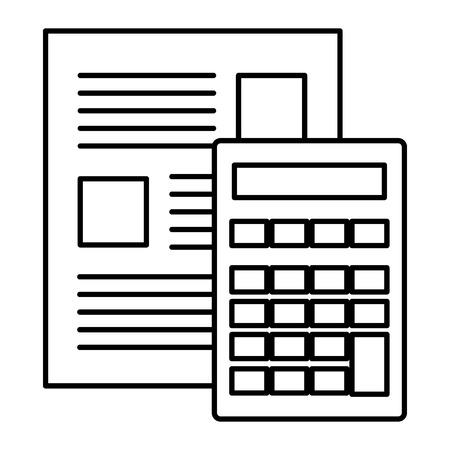 calculator math device with document vector illustration design Иллюстрация