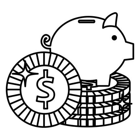 Schweinchen Einsparungen mit Münzen Vektor-Illustration Design Standard-Bild - 103018219