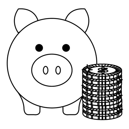 Schweinchen Einsparungen mit Münzen Vektor-Illustration Design Standard-Bild - 103018222