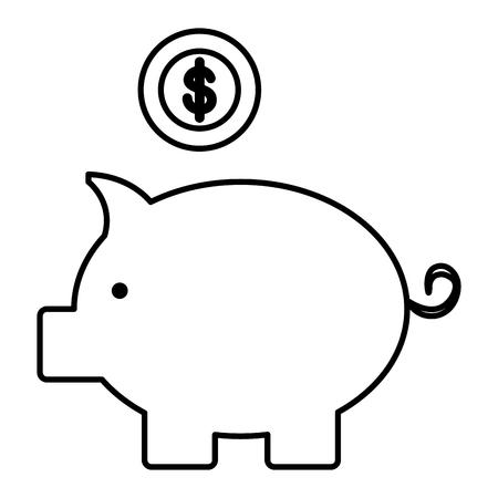 Schweinchen Einsparungen mit Münzen Vektor-Illustration Design Standard-Bild - 103018224