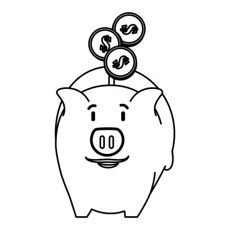 Schweinchen Einsparungen mit Münzen Vektor-Illustration Design Standard-Bild - 103019091