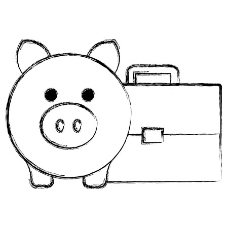 piggy savings with portfolio vector illustration design