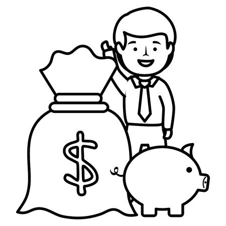 businessman with piggy savings and money sack vector illustration design