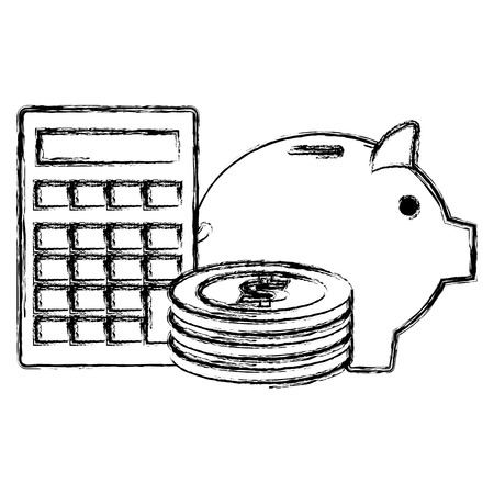 piggy savings with coins and calculator vector illustration design 向量圖像