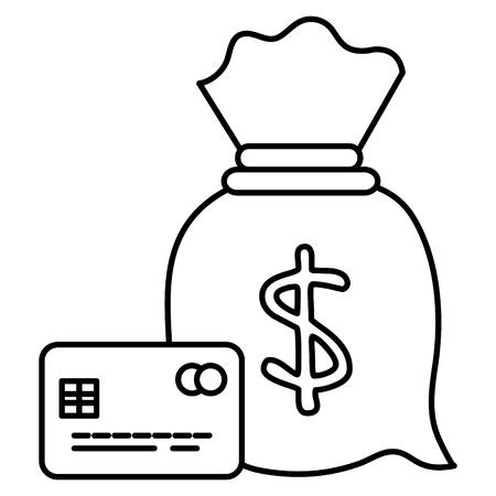 money bag with credit card vector illustration design