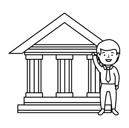 bank building with businessman vector illustration design