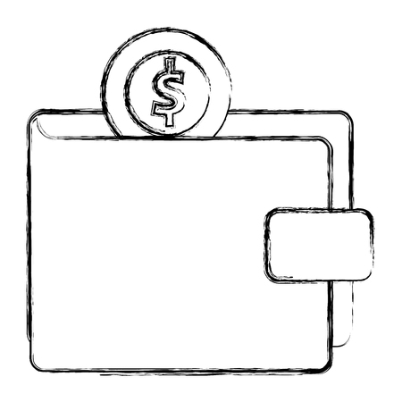 wallet money with coin vector illustration design