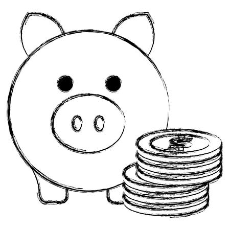 Schweinchen Einsparungen mit Münzen Vektor-Illustration Design Standard-Bild - 103020015