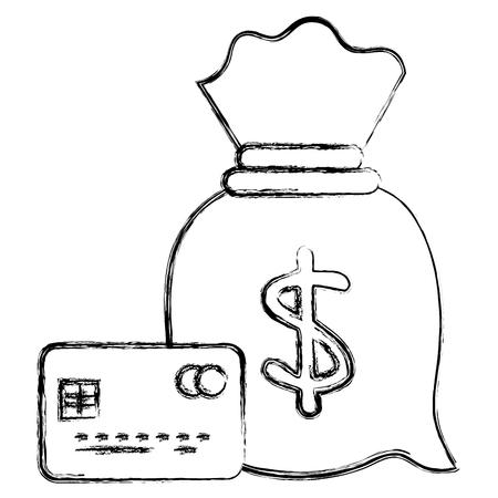 Bolsa de dinero con diseño de ilustración de vector de tarjeta de crédito Foto de archivo - 103020023