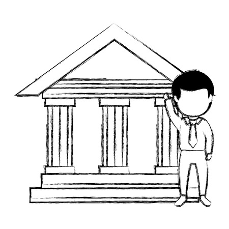 bank building with businessman vector illustration design
