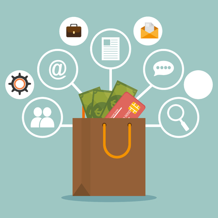 shopping bag with electronic commerce icons vector illustration design