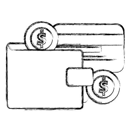 Billetera de dinero con tarjeta de crédito y monedas ilustración vectorial de diseño Foto de archivo - 103022808