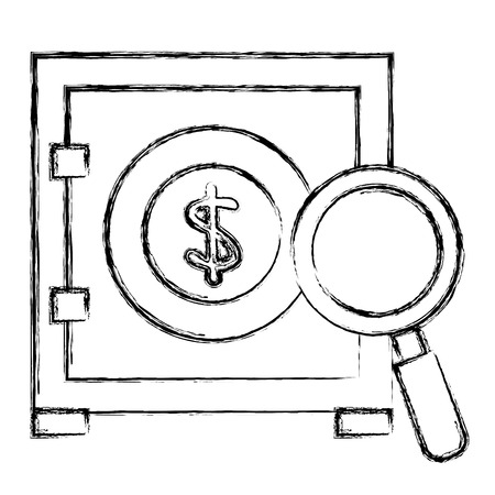 safe box money with magnifying glass vector illustration design