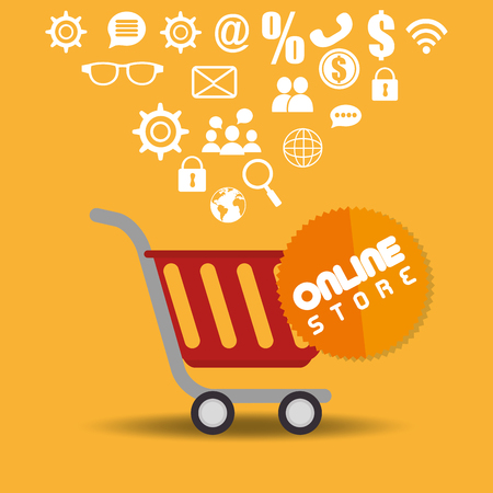 shopping cart with electronic commerce icons vector illustration design