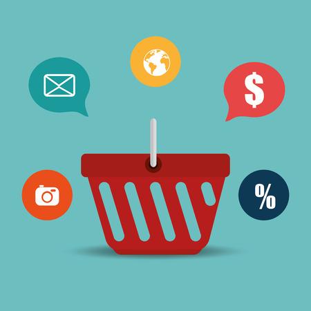 shopping basket with electronic commerce icons vector illustration design Illustration
