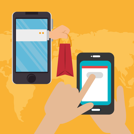 smartphone with electronic commerce icons vector illustration design