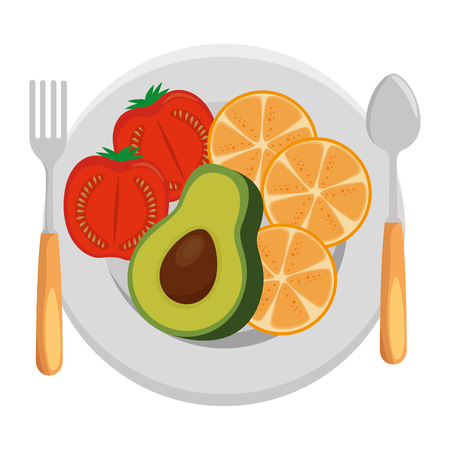 dish and cutlery with fruits and vegetables vector illustration design