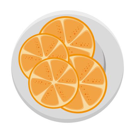 plate with orange half fresh fruit healthy vector illustration design
