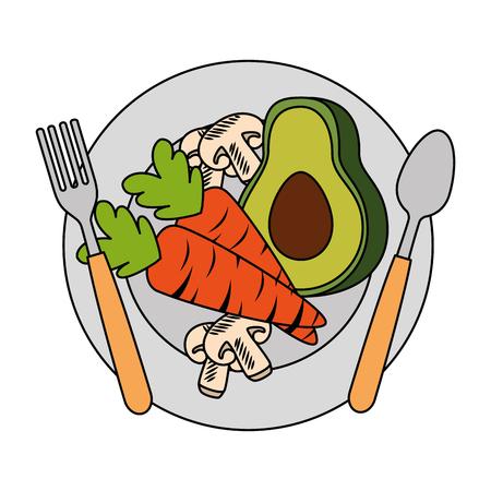 Frische Avocado mit Karotten und Pilz vegetarische Lebensmittel Vektor-Illustration Standard-Bild - 103025116