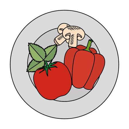 fresh tomato and pepper healthy food vector illustration design