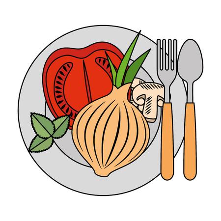 Fresco di pomodoro e cipolla sana cibo illustrazione vettoriale illustrazione Archivio Fotografico - 103025117