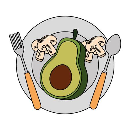 Frische Avocado in Teller mit Pilz vegetarische Lebensmittel Vektor-Illustration Design Standard-Bild - 103025411