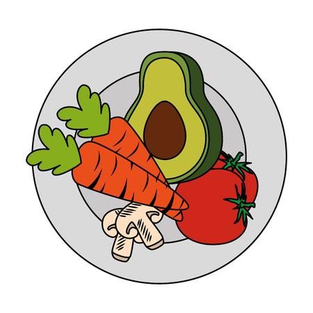Frische Avocado mit Karotten und Pilz vegetarische Lebensmittel Vektor-Illustration Standard-Bild - 103025416