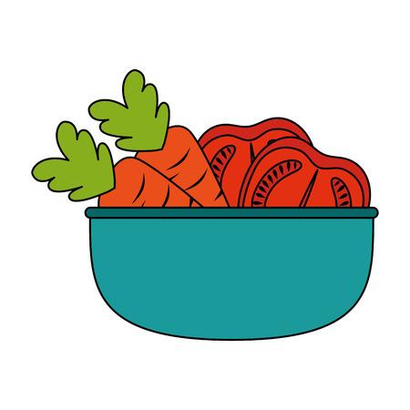 vegetables in kitchen bowl vector illustration design