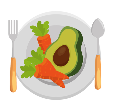 fresh avocado and carrots in dish vegetarian food vector illustration design