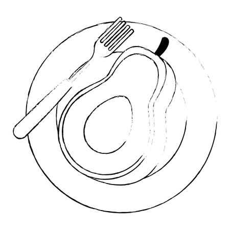 fresh avocado in dish vegetarian food vector illustration design