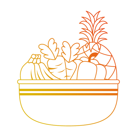 bowl with fresh fruits and vegetables vector illustration design