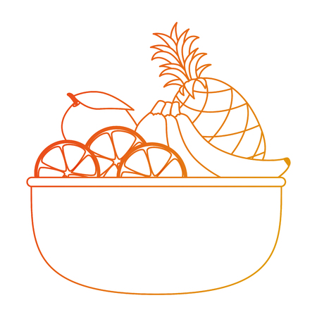 bowl with fresh fruits healthy food vector illustration design