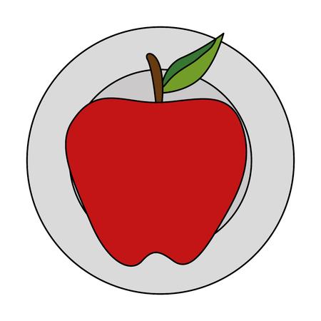dish with apple fresh fruit healthy vector illustration design