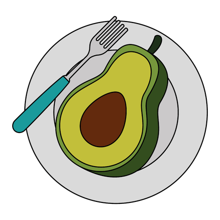 fresh avocado in dish vegetarian food vector illustration design
