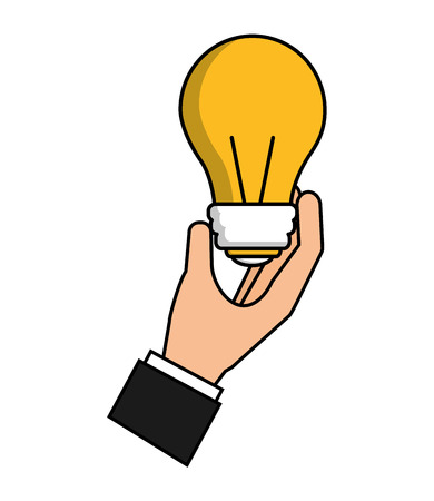 hand with light bulb isolated icon vector illustration design Banco de Imagens - 103035170