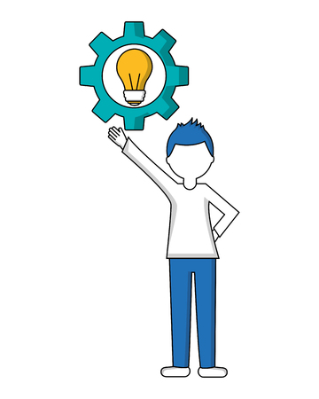 young man with gear and light bulb isolated icon vector illustration design 版權商用圖片 - 103035183