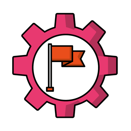 gear machine with flag isolated icon vector illustration design
