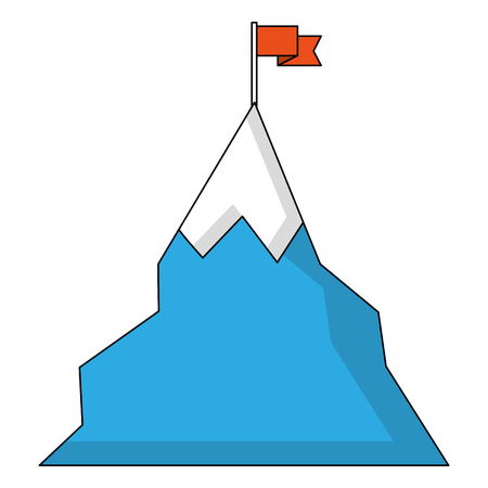 snowy mountain with flag isolated icon vector illustration design Illustration